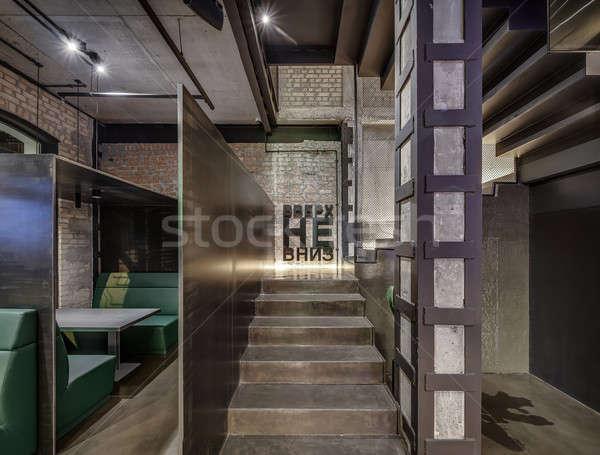 Restaurant vliering stijl hal cafe baksteen Stockfoto © bezikus