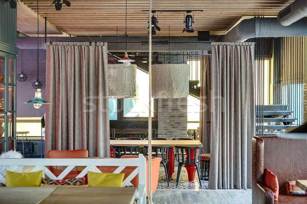 интерьер мексиканских ресторан чердак стиль деревянный стол Сток-фото © bezikus