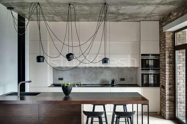 Grenier style cuisine concrètes brique murs Photo stock © bezikus