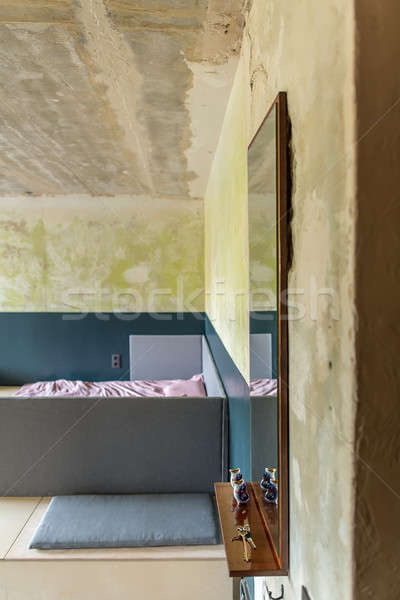 Slaapkamer vliering stijl mooie haveloos muren Stockfoto © bezikus