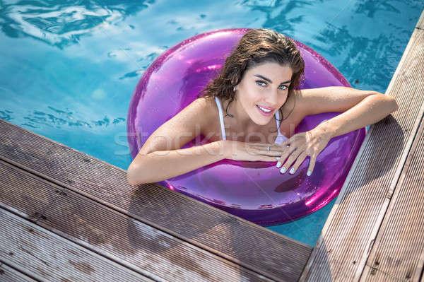 Modell Gummi Ring Schwimmbad verführerisch wet Stock foto © bezikus
