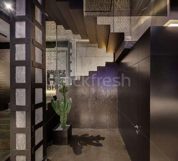 Café sótão estilo restaurante tijolo concreto Foto stock © bezikus