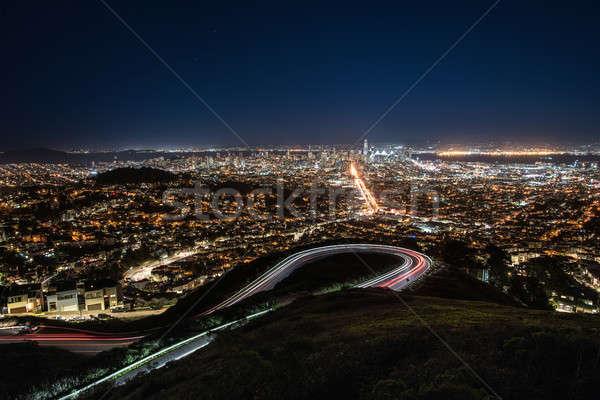 Noite cityscape San Francisco Califórnia Foto stock © bezikus