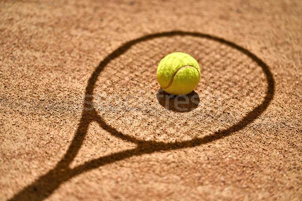Tennisbal grond schaduw racket Geel Stockfoto © bezikus