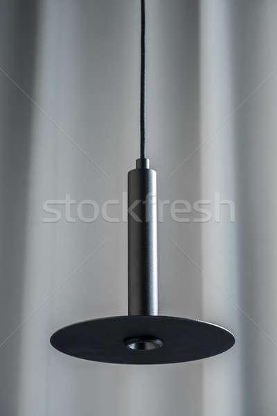 Preto metálico lâmpada enforcamento cinza cortina Foto stock © bezikus