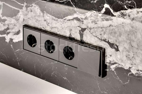 Stok fotoğraf: Güç · değiştirmek · siyah · mermer · duvar · beyaz