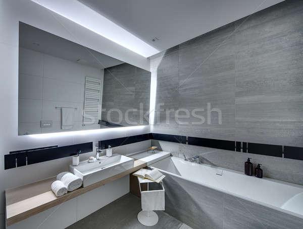 ванную современный стиль современный плиточные белый серый Сток-фото © bezikus