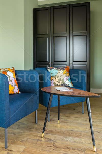 Interni stile moderno stanza verde muri piano Foto d'archivio © bezikus
