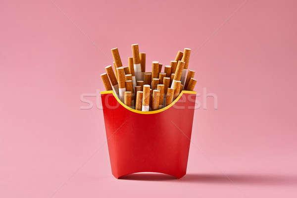多くの タバコ 赤 カートン 新しい メニュー ストックフォト © bezikus