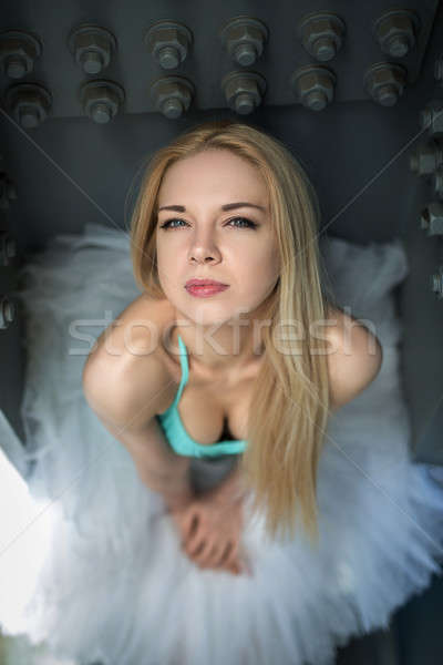 Stockfoto: Portret · bevallig · ballerina · industriële · witte · brug