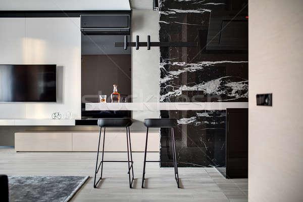 Interior estilo moderno contemporáneo sala piso negro Foto stock © bezikus