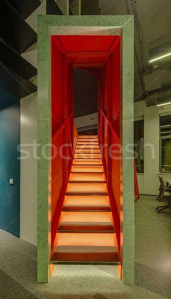 Niezwykły klatka schodowa biuro futurystyczny podświetlenie strych Zdjęcia stock © bezikus