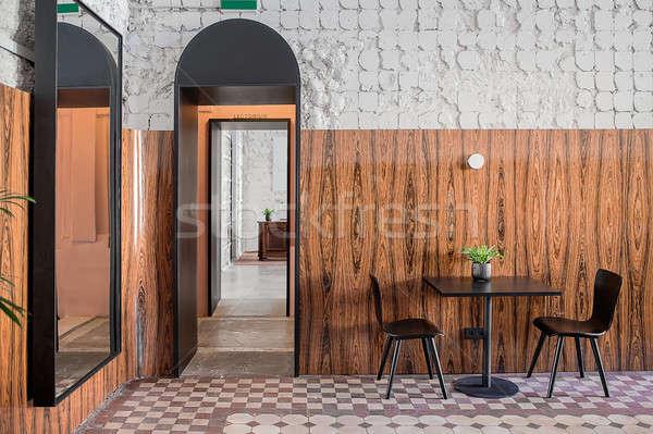 レストラン ロフト スタイル カフェ みすぼらしい 白 ストックフォト © bezikus