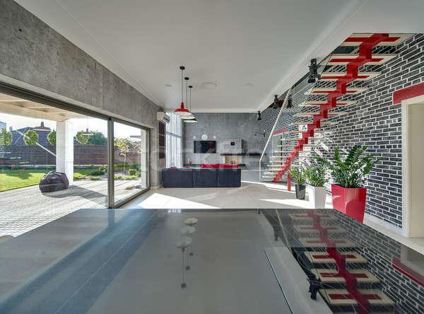 Stock fotó: Belső · modern · stílusú · előcsarnok · beton · tégla · falak