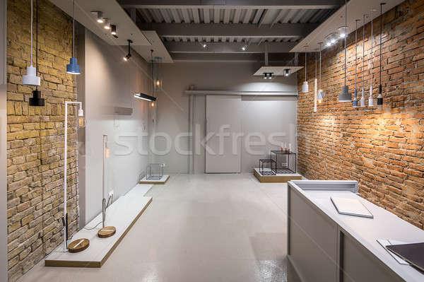 Iç çatı katı stil ofis tuğla Stok fotoğraf © bezikus