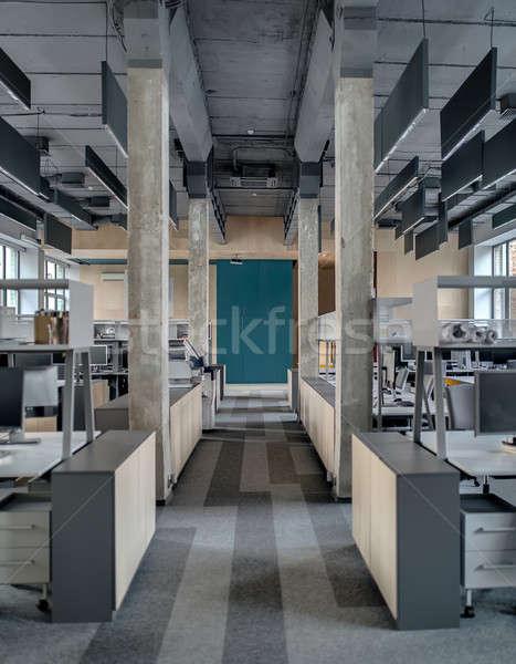 çatı katı stil salon ofis beton sütunlar Stok fotoğraf © bezikus