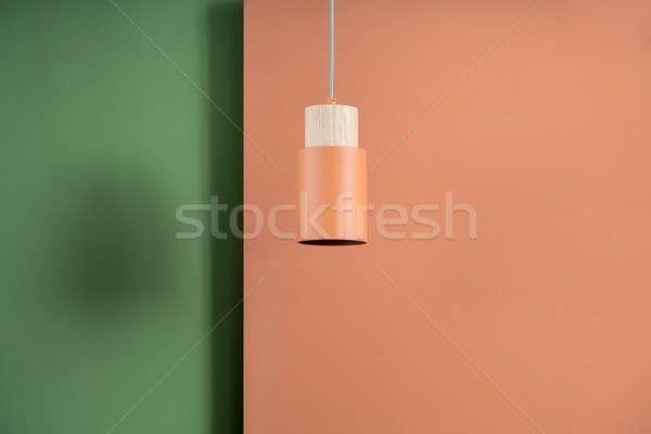 Opknoping metaal oranje lamp houten metalen Stockfoto © bezikus