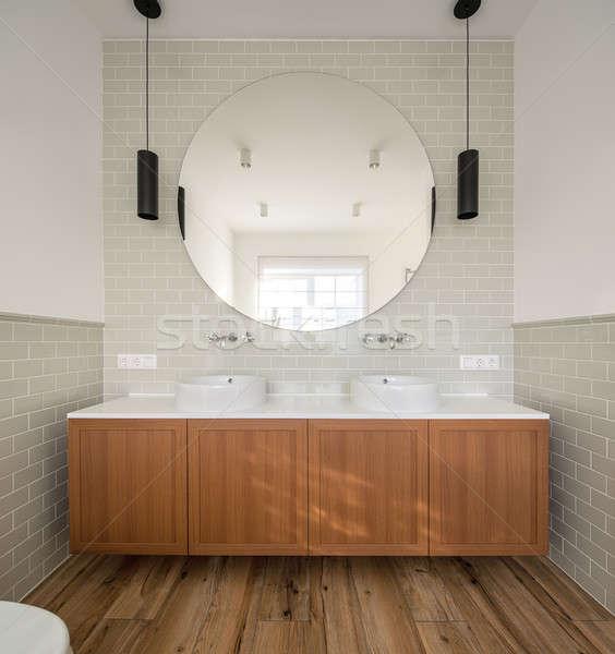туалет современный стиль ванную свет стен плитки Сток-фото © bezikus