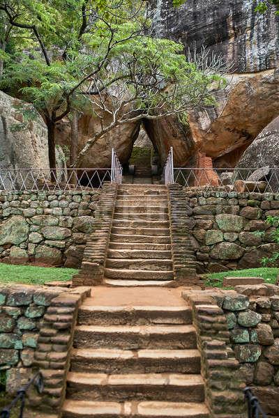 цитадель лев рок древних каменные лестницы Сток-фото © bezikus