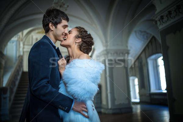 Retrato feliz casamento casal clássico interior Foto stock © bezikus
