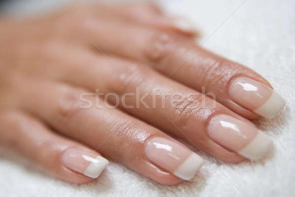 Kéz francia manikűr törölköző divat egészség szépség Stock fotó © bezikus