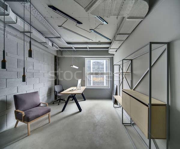 Iroda padlás stílus szoba szürke falak Stock fotó © bezikus