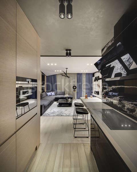 Stile moderno interni cucina nero marmo muro Foto d'archivio © bezikus