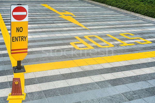 Yellow road marking on pave Stock photo © bezikus