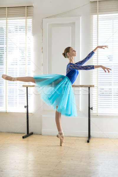 Ballerina is training in hall Stock photo © bezikus