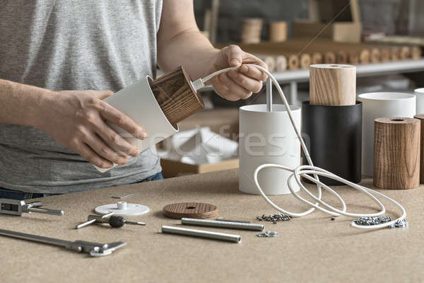 Lâmpada oficina homem branco por Foto stock © bezikus