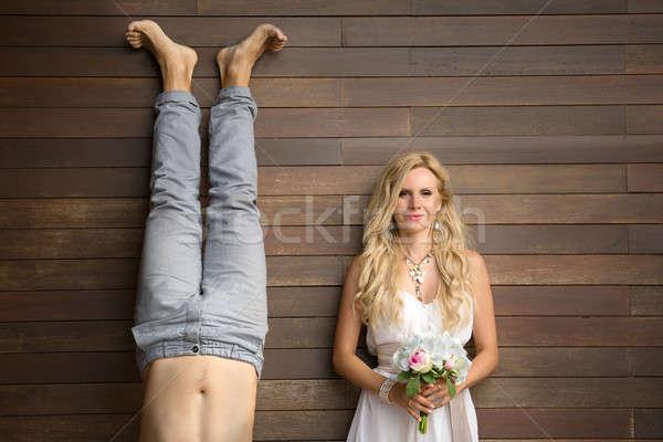 Grappig rond bruiloft man haren Stockfoto © bezikus