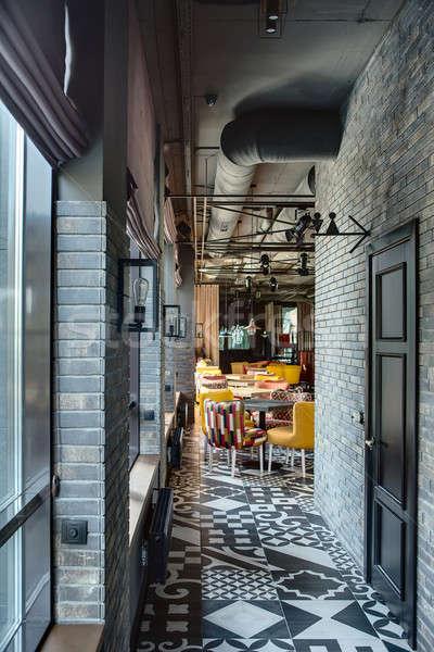 Restoran çatı katı stil koridor oda duvar Stok fotoğraf © bezikus