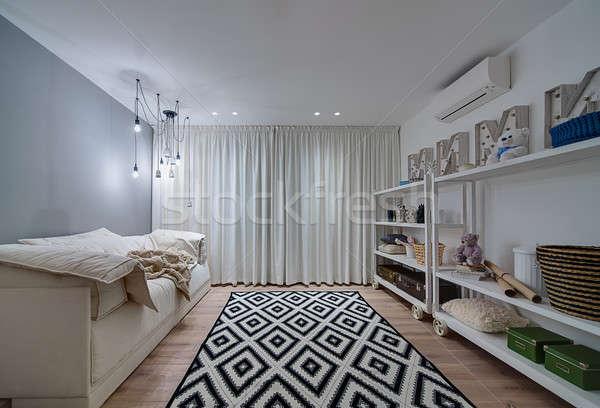 Kinderen kamer moderne stijl heldere kinderen tapijt Stockfoto © bezikus