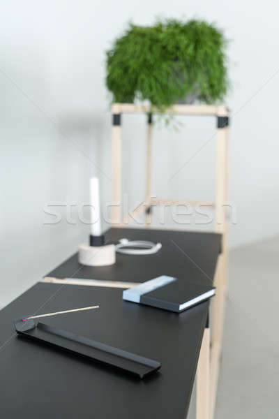 Wooden construct with black tabletops Stock photo © bezikus