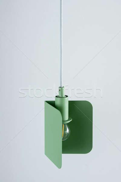 Hanging metal green edison lamp Stock photo © bezikus