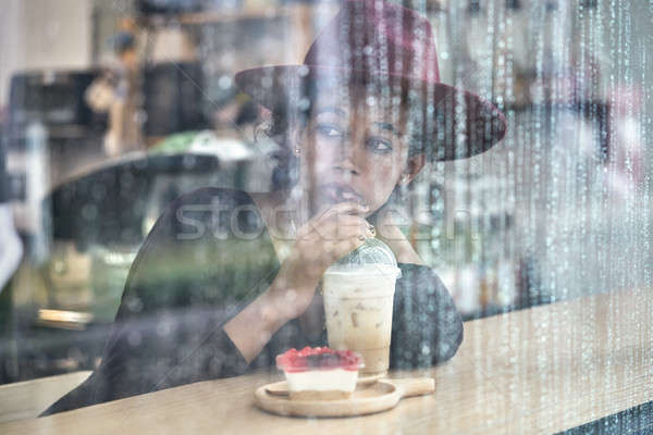 Beautiful girl café encantador menina bebidas Foto stock © bezikus