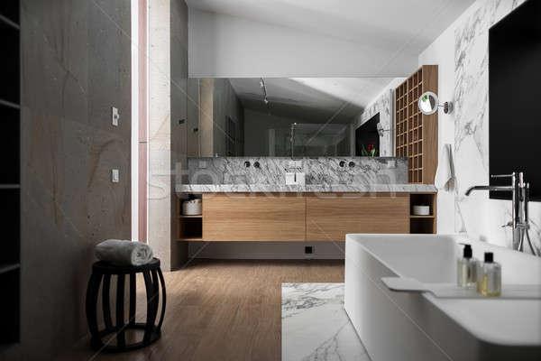 Elegante moderno banheiro estilo moderno luz paredes Foto stock © bezikus