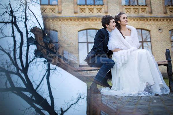 Stock foto: Hochzeit · Paar · Sitzung · Park · Bank