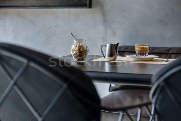 Espresso nero lucido tavola ristorante caffè Foto d'archivio © bezikus