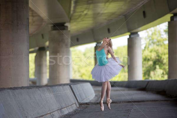Graceful ballerina doing dance exercises on a concrete bridge  Stock photo © bezikus