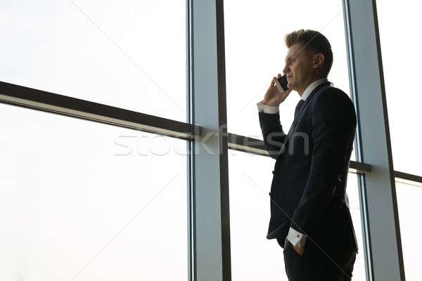 Elegáns üzletember nagy ablak padló modell Stock fotó © bezikus