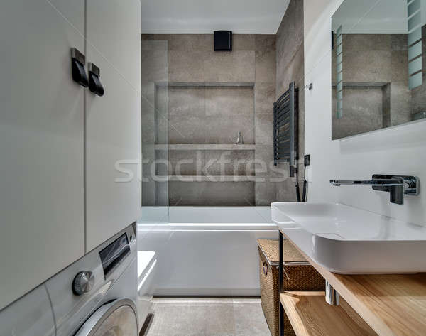 Stile moderno bagno piastrelle bianco sink Foto d'archivio © bezikus