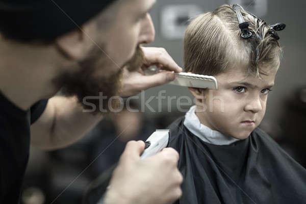 мало мальчика Kid голову черный салона Сток-фото © bezikus