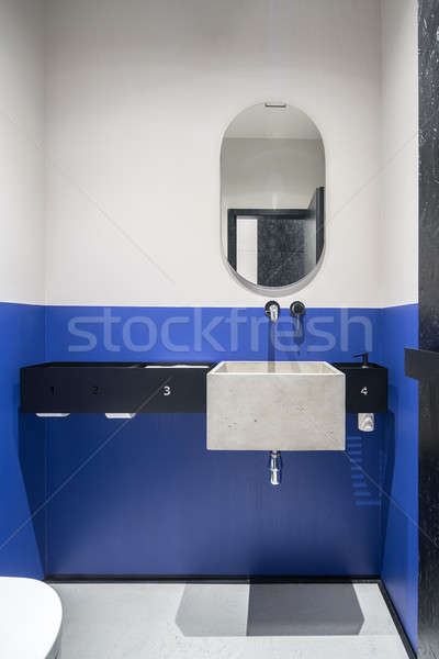 Restroom with multicolor walls and concrete sink Stock photo © bezikus