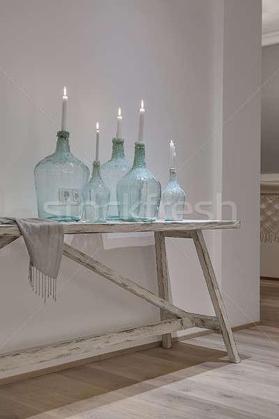 Design verre bougies élégant bouteilles Photo stock © bezikus