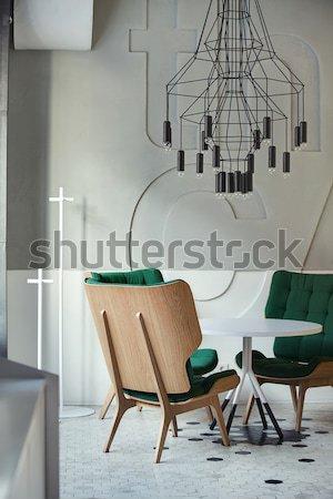 Kafe çatı katı stil şık ışık duvar Stok fotoğraf © bezikus