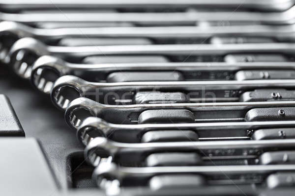 Chroom metaal toolbox verschillend donkere laag Stockfoto © bezikus