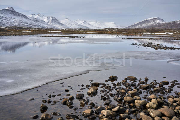 Icelandic landscape of river and mountains Stock photo © bezikus