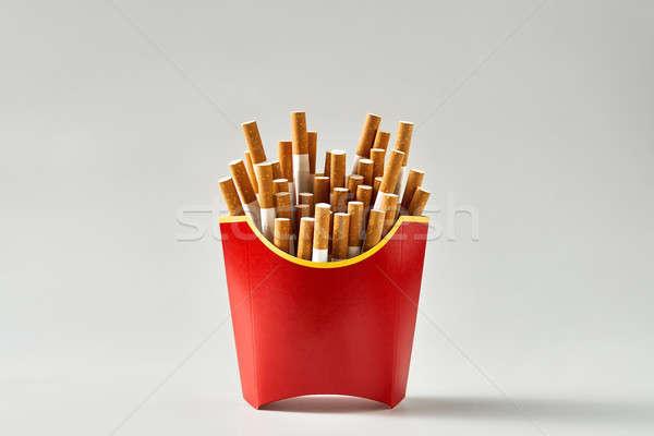 Muitos cigarros vermelho cartão novo menu Foto stock © bezikus