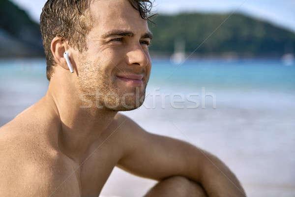 парень пляж радостный человека песок Сток-фото © bezikus